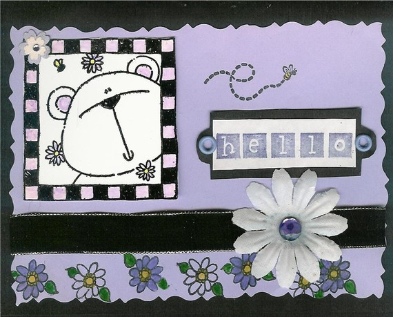 Hello Bear Blank Greeting note card