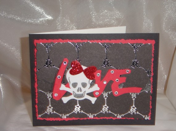 Love skull Valentine greeting card