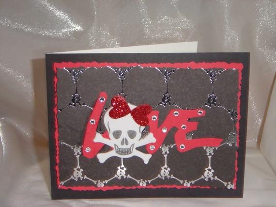 Love skull Valentine greeting card